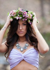 top,purple,flower crown,bandeau,twist bandeau,festival
