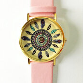 jewels,dreamcatcher,watch,jewelry,accessories,pink,leather watch,vintage style,cute