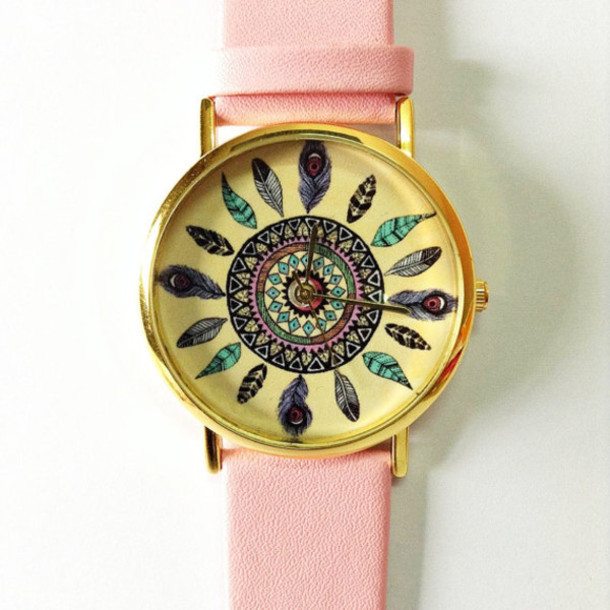 jewels dreamcatcher watch watch jewelry accessories pink leather watch vintage style cute