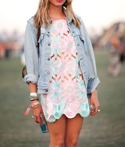 blue pink dress coachella flowers