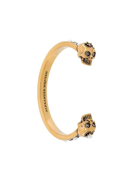 Alexander Mcqueen cuff skull women cuff bracelet grey metallic jewels