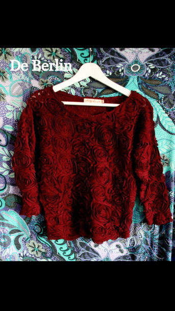 sweater red burgundy 3d roses