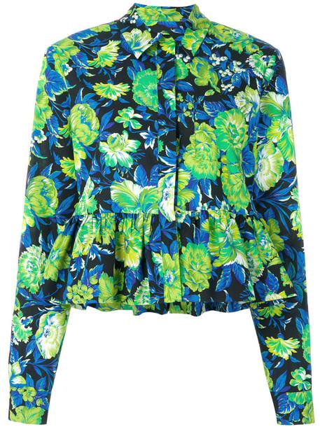 shirt peplum shirt women floral cotton top