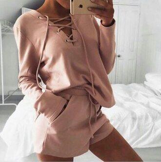 pajamas sweater lace up jumper pink sweater shirt pink shorts lace up top pink soft pink shorts shorts drawstring shorts pockets