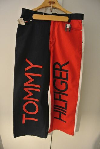 jeans aaliyah hip hop rap 90s style tommy hilfiger tlc red white blue vintage