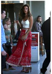skirt,crop tops,summer outfits,summer top,alessandra ambrosio,maxi skirt,wrap skirt,top