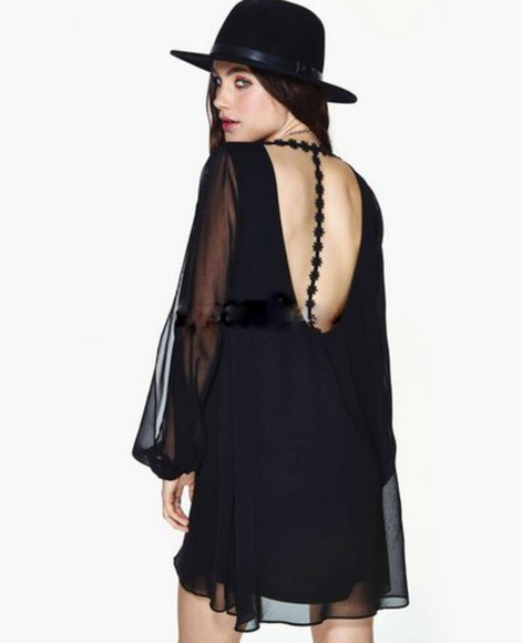 little black dress chiffon dress boho boho chic gypsy festival dress hippie sheer long sleeve sheinside lace