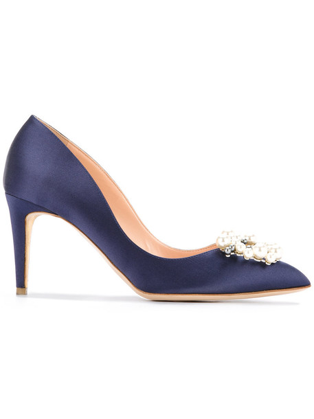 women pearl embellished pumps leather blue silk shoes