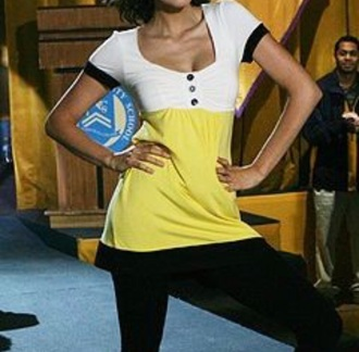 tank top mia nina dobrev degrassi yellow black white top fit buttons button up shirt white blouse ponytail tv show