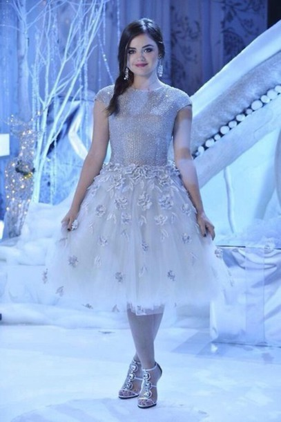 dress PLL Ice Ball embellished aria montgomery pretty little liars lucy hale silver tulle dress earrings