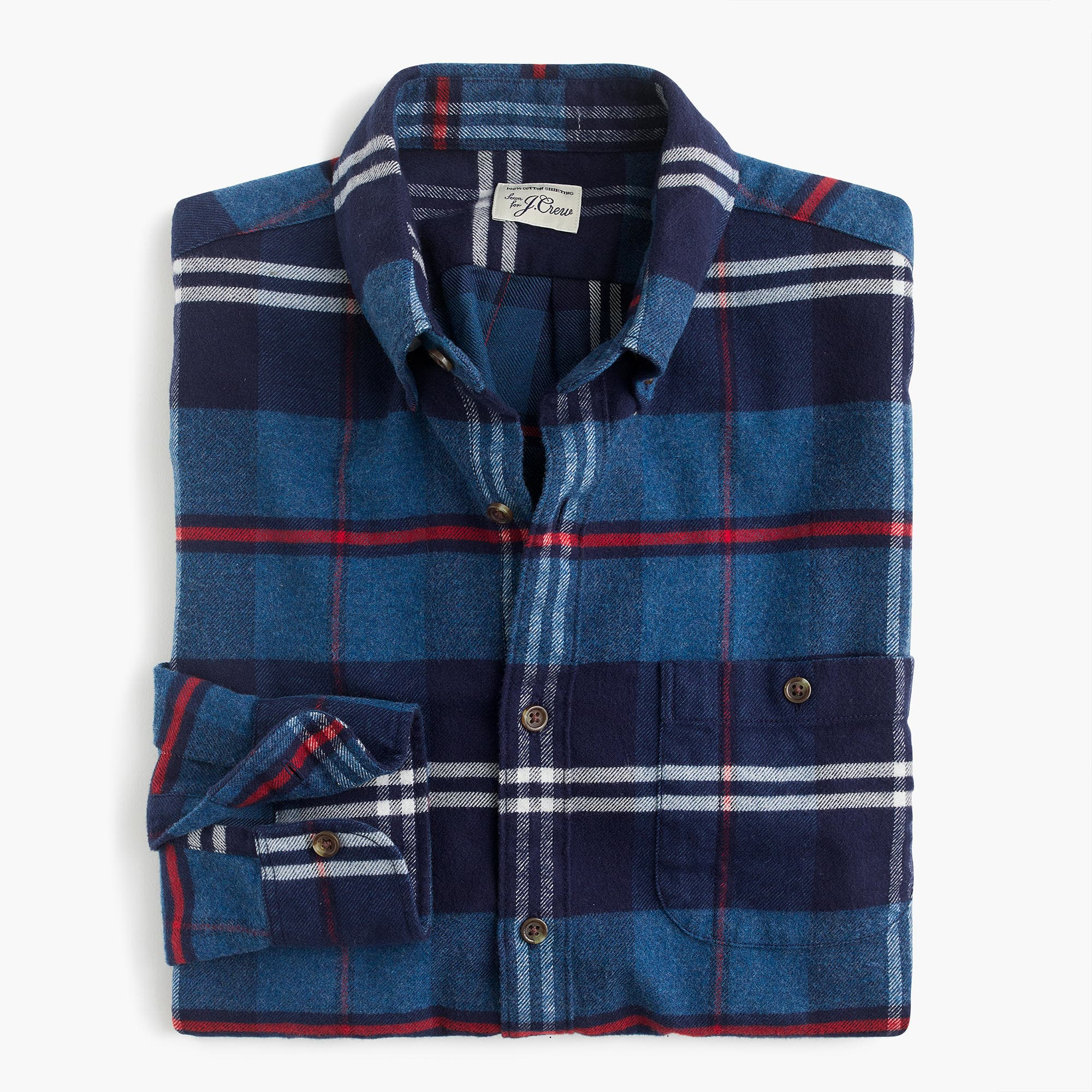 Brushed heather elbow-patch shirt in bold plaid