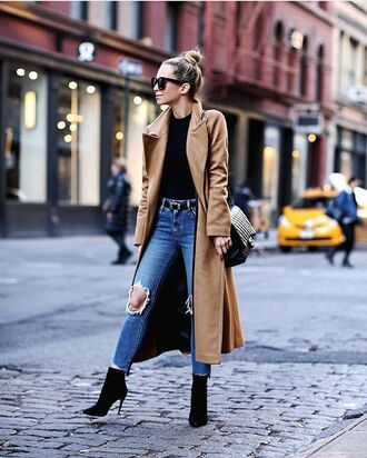 coat tumblr camel camel coat long coat top black top denim jeans blue jeans ripped jeans boots black boots high heels boots ankle boots sunglasses black sunglasses bag black bag