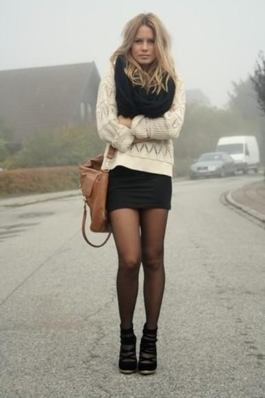 sweater infinity scarf black skirt bag