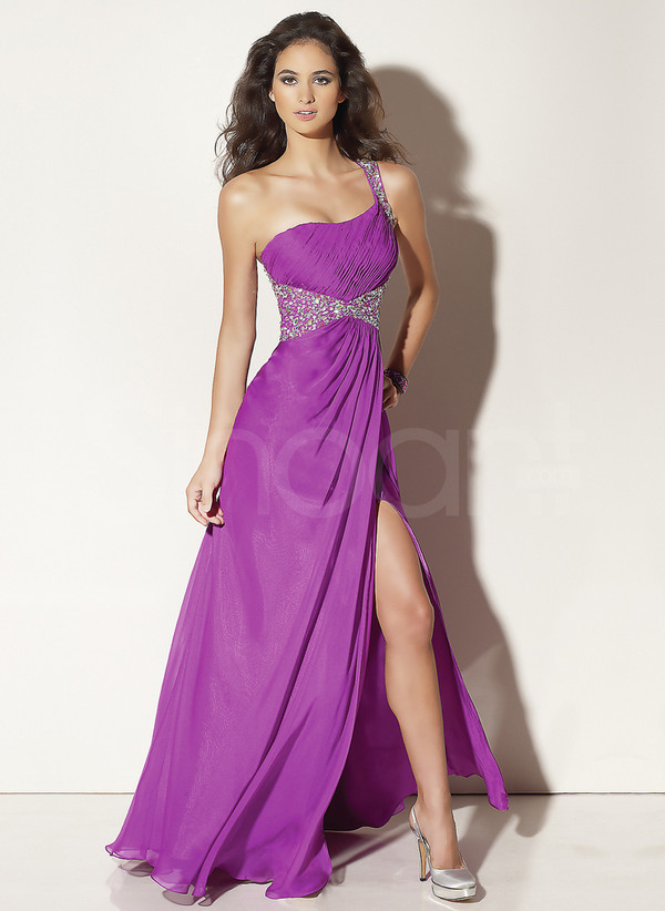 dress lilac side split prom dress empire waistline