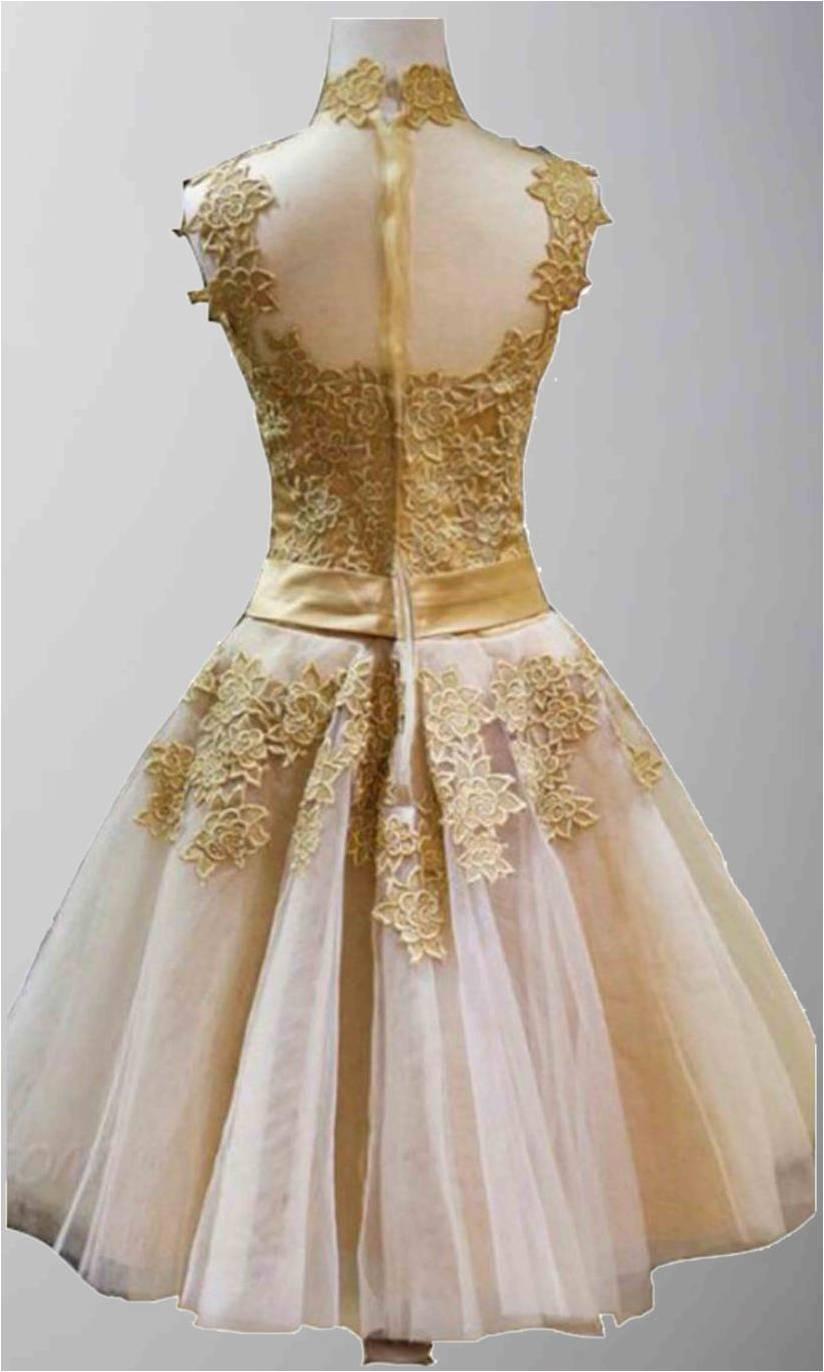 Golden Vintage Princess High Neck Short Prom Dresses KSP320 ...