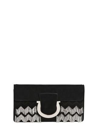 embellished clutch suede silver black bag