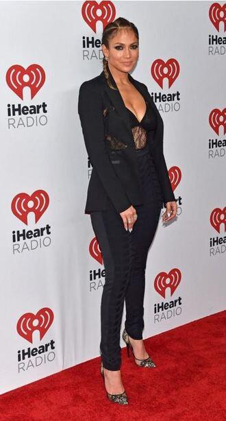 top bodysuit all black everything lace black lace jennifer lopez pants blazer