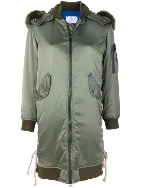 As65 - long bomber jacket - women - Fox Fur/Polyamide/Polyester - XXS, Green, Fox Fur/Polyamide/Polyester