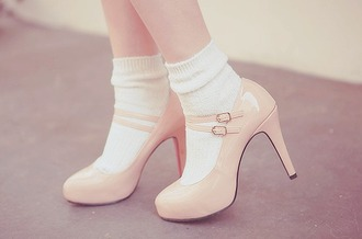 shoes baby pink high heels buckles cute socks