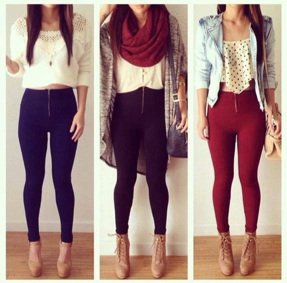 scarf knit blouse cute croptop polkadot burgunfy leggings