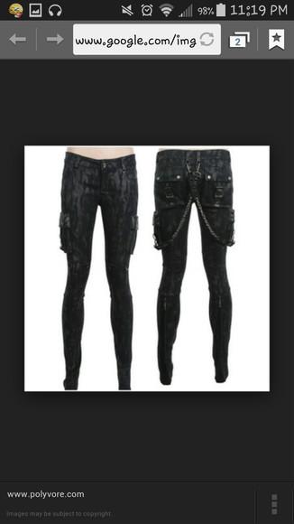 punk chain visual kei alternative style jeans jrock