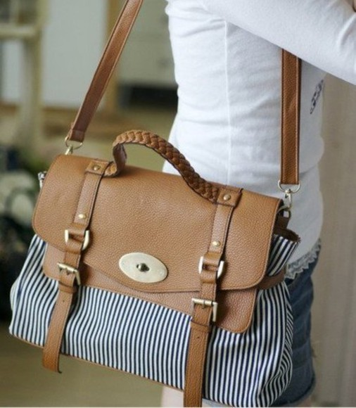 bag striped blue tan brown tumblr wanelo