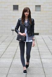 vogue haus,blogger,gingham,shirt,vans,leather jacket,jeggings,mini bag,top,blouse,jacket,jeans,bag,jewels,sunglasses