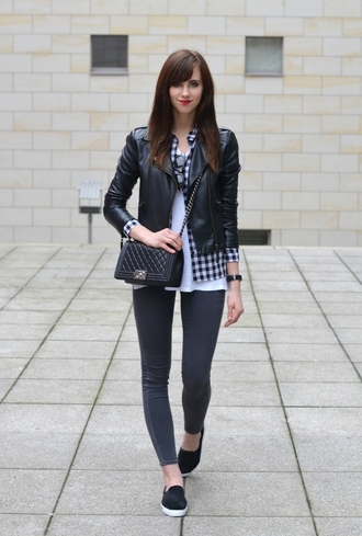 vogue haus blogger gingham shirt vans leather jacket jeggings mini bag top blouse jacket jeans bag jewels sunglasses