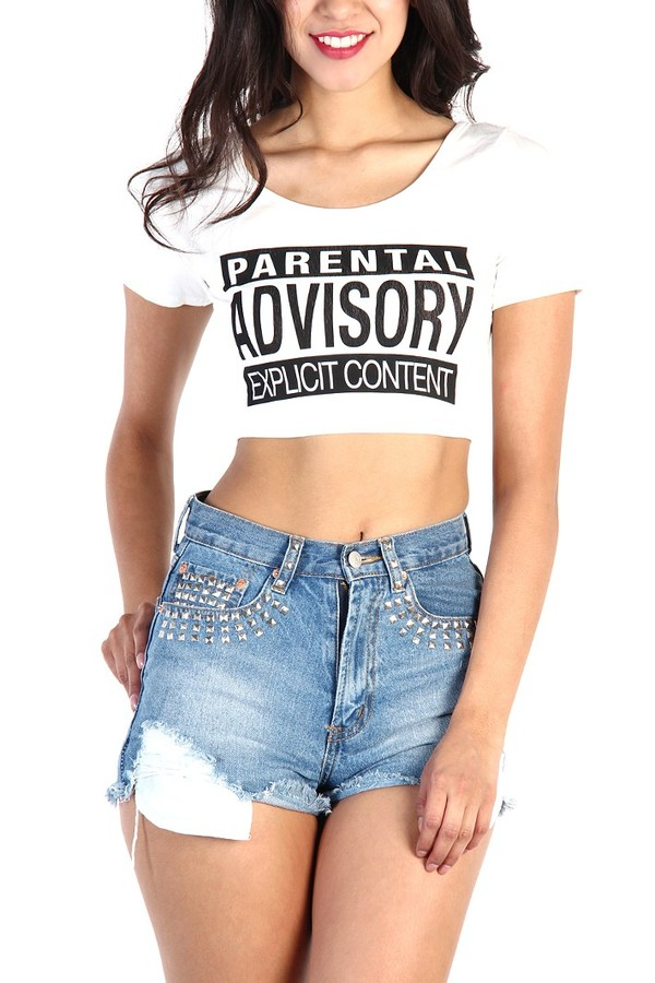 t-shirt parental advisory explicit content parental advisory explicit content crop tops shirt shaved to the side high waisted denim shorts High waisted shorts top crop