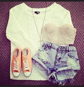 t-shirt,shorts crop top sweater,tank top,sweater,shorts,demin shorts,ripped shorts,jumper,white,neck lace,converse,orange,blouse,underwear,High waisted shorts,cute shorts,high waisted denim shorts,denim,denim shorts,cute outfits,shoes,shirt,clothes,cute,nude,bustier,girly,white sweater,white top,fashion,fall outfits,winter outfits,summer outfits,fall sweater,winter sweater,knitted sweater