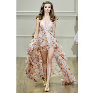 dress low cut cream pattern floral lace long ruffle sexy spring hi low dress