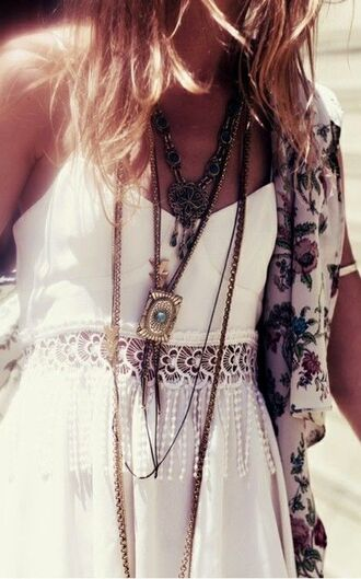 dress fashion maxi short summer lace lace dress cute hot pretty white white lace dress jewelry gold gold jewelry maxi dress short dress spring jewels shirt blouse hippie hipster white dress tank top boho bohemian clothes kimono floral vintage coat bralette top boho white dress
