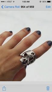 jewels,ring,skull,silver,cute