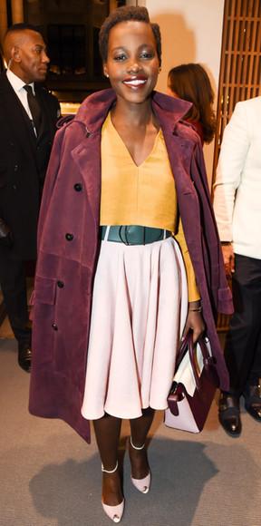 skirt coat lupita nyong'o top