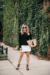 bows&sequins,blogger,sweater,skirt,shoes,bag,basket bag,sandals,white skirt,black sweater