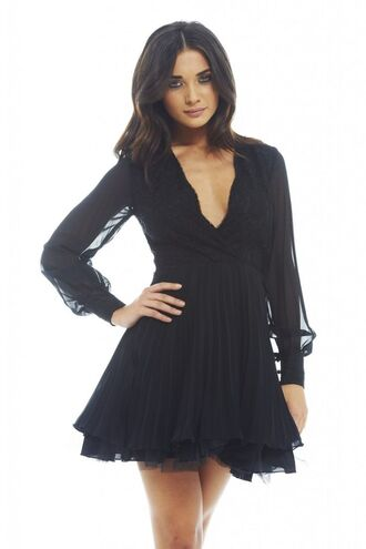 www.ustrendy.com little black dress long sleeve dress plunge neck dress lace top dress