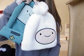 hat,beanie,adventure time,winter outfits,cute,amazing,white,green,fluffy,warm,cool,finn,mint,games,finn hat,funny,adventure time beanie,hair accessory,acessories,fashion,blue