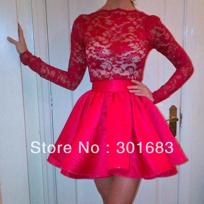 PR577 Popular Red Short Cocktail Gown Lace Kids' Party Dress Long Sleeves Women Dresses-in Party Dresses from Apparel & Accessories on Aliexpress.com