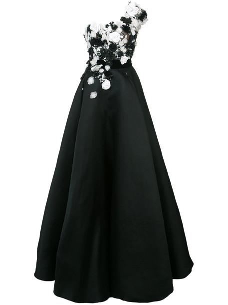 Marchesa gown women ball black silk dress