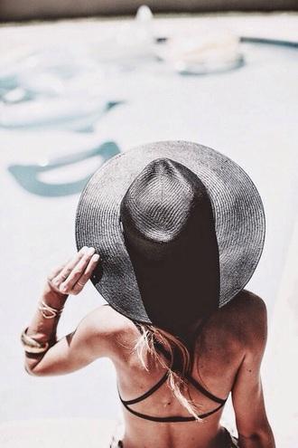 hat black black hat girl girly big hat ledder black hats