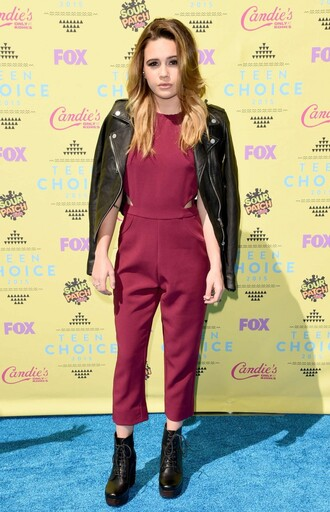 jumpsuit beatrice miller teen choice awards ankle boots jacket clog boots shoes fringe shoes fringe clog red wine color vue boutique clogs