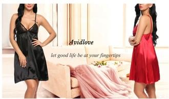 dress girly red dress red black dress black sleep lingerie satin silk silk dress
