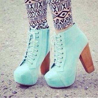 shoes brown heel light blue cute high heels