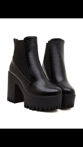 shoes black chunky boots