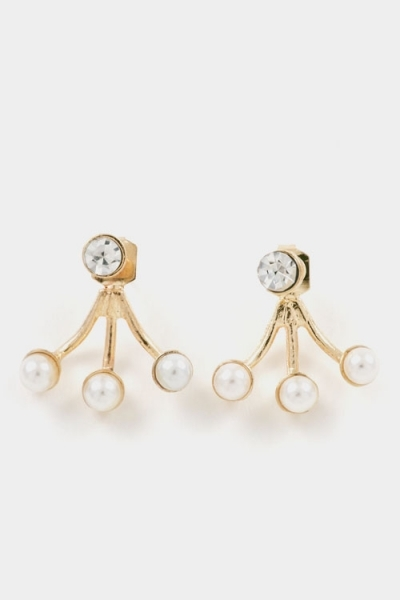Crystal & pearl fanned gold ear jackets earrings