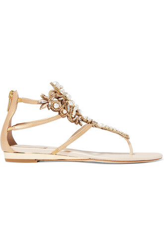 pearl embellished sandals leather sandals leather gold shoes