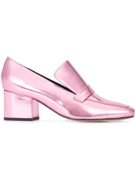 Dorateymur women pumps leather grey metallic shoes
