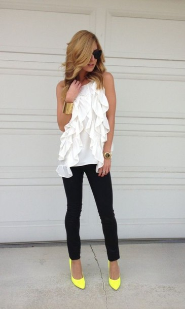 jeans shirt pants top leggings jeggings white black black jeans yellow high heels dress shoes ruffle frill blouse clothes