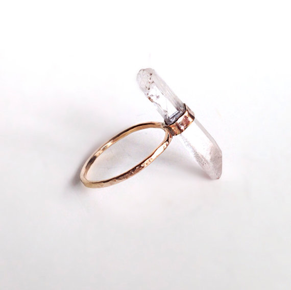 Crystal Quartz Point Gold Ring OOK Statement by camilaestrella