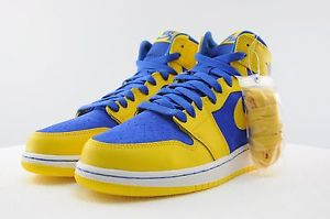 "Youth GS Air Jordan Retro 1 High OG ""Laney"" Yellow Royal 575441 707 Size 3 5 7 